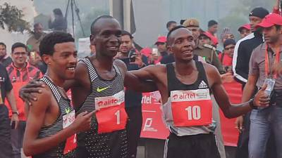 Kenya's Eliud Kipchoge wins Delhi Half Marathon