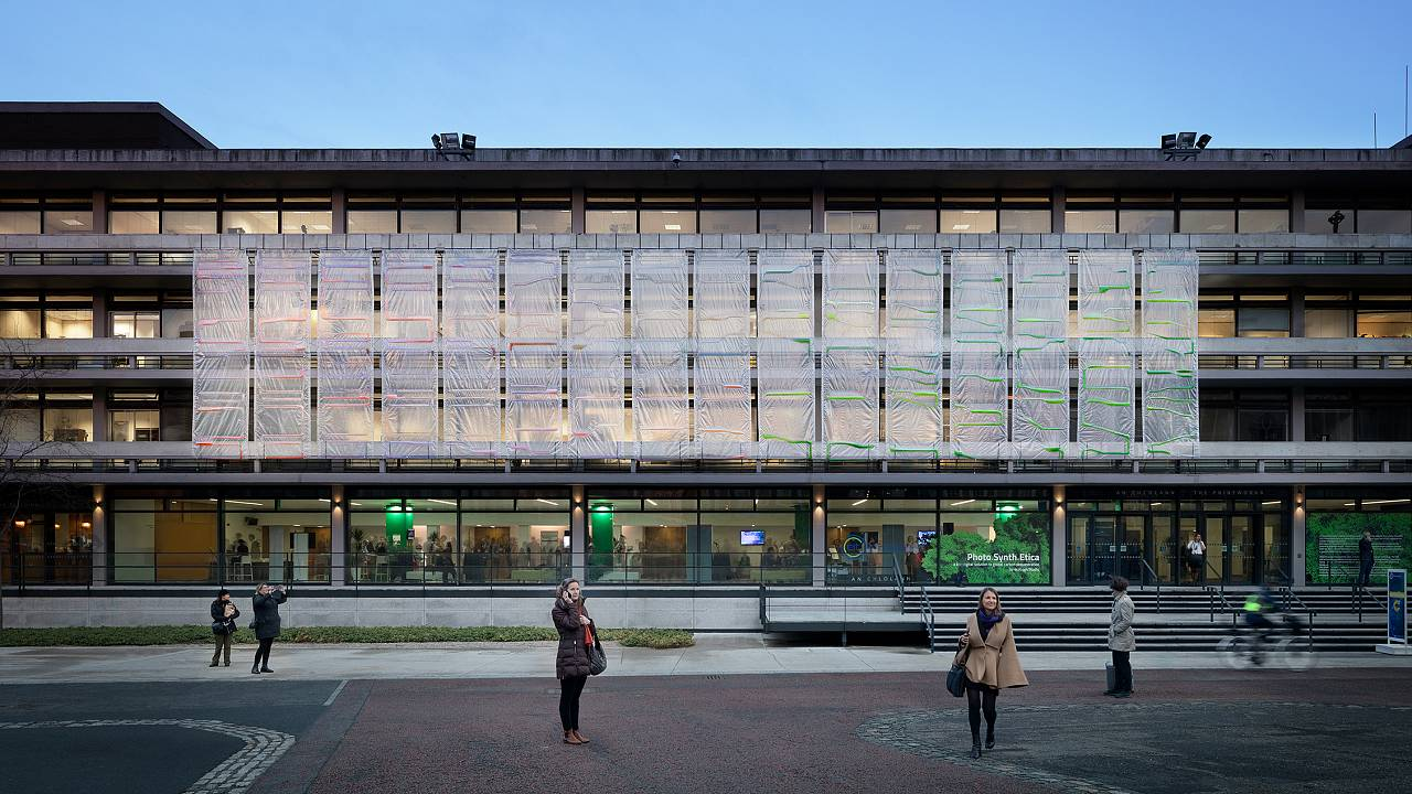 The bioplastic curtains could cover the facades of new or existing building