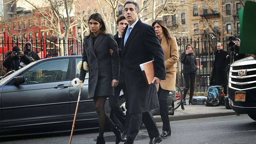 Image: Michael Cohen walks to federal court with his children and wife in M