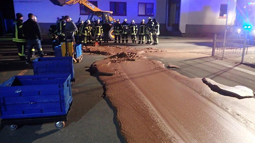 Image: Spilt chocolate is seen on a road in Werl
