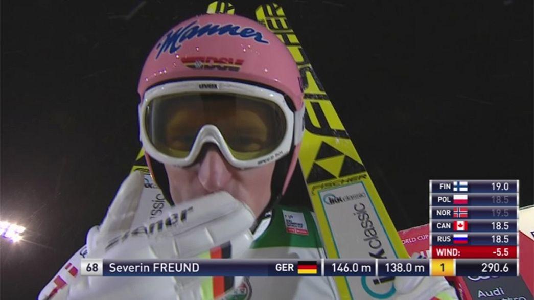 كأس العالم للقفز على الثلج: الألماني سيفرين فروند يقفز إلى المركز الاول