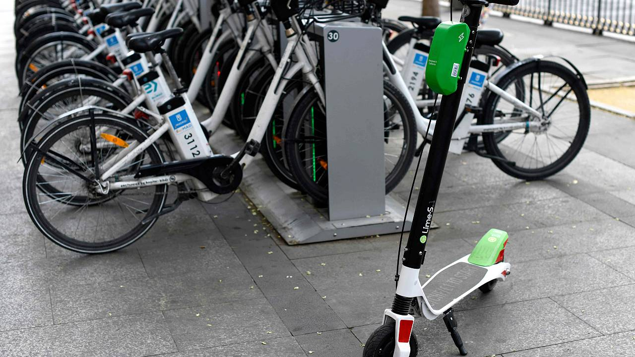 A Lime electric scooter-sharing service