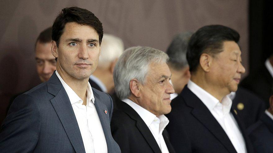 Image: Canadian Prime Minister Justin Trudeau, Chile's President Sebastian
