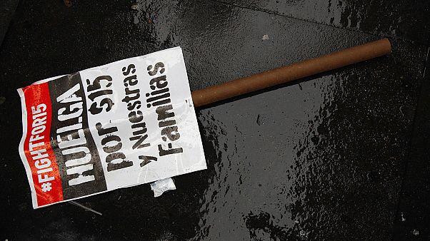 Trabalhadores americanos em protesto