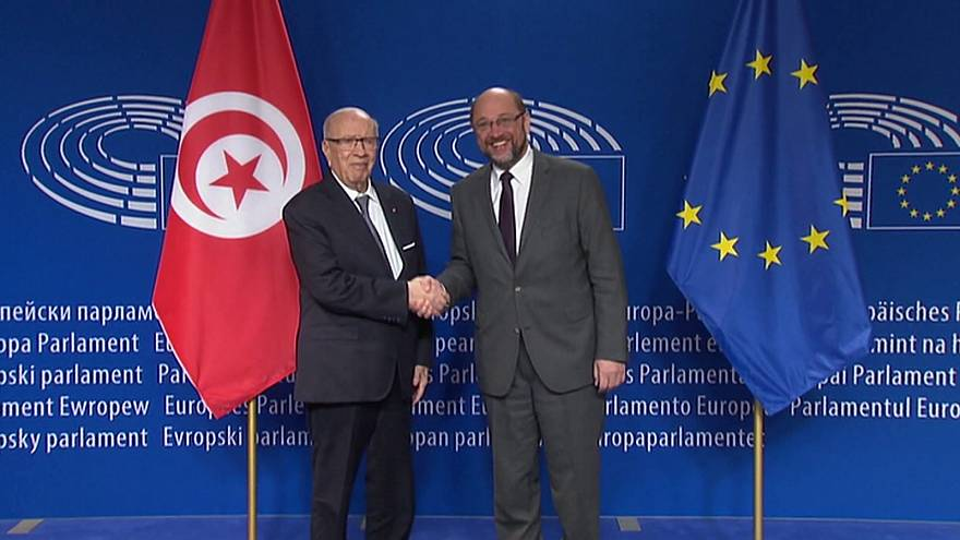 Tunisia's president seeks support in Brussels