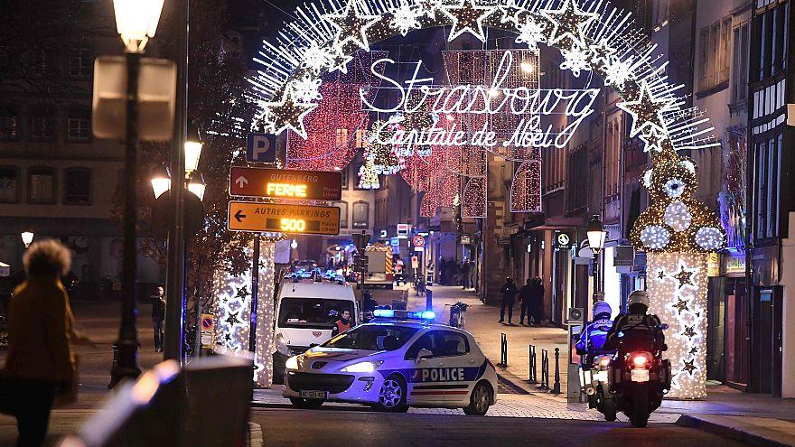 Image: A police car drives in the streets of Strasbourg, eastern France, af