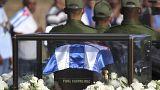 Fidel e Che juntos na primeira etapa do cortejo fúnebre do ex-líder cubano