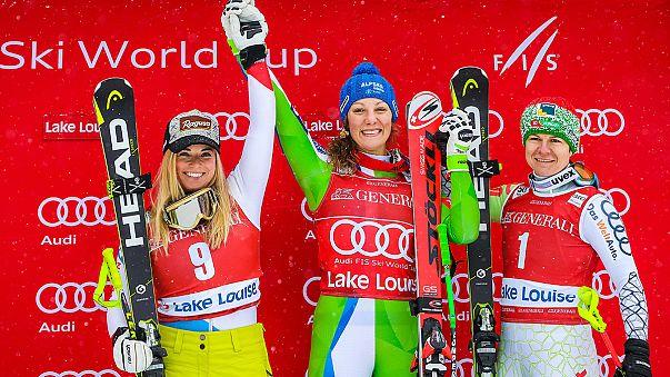 Double joy for Slovenia's Ilka Stuhec in Lake Louise downhill