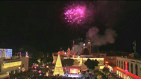Christmas lights turned on in Bethlehem