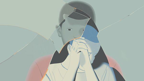 Illustration of a teen boy seen through broken glass