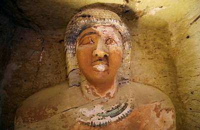 A statue is seen inside the newly-discovered tomb of \'Wahtye\', which dates from the rule of King Neferirkare Kakai, at the Saqqara area near its necropolis, in Giza, Egypt on Dec. 15, 2018.
