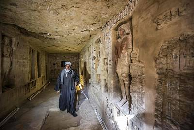 Mostafa Abdo stands inside the newly-discovered tomb of \'Wahtye\', in Giza, Egypt on Dec. 15, 2018.