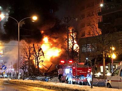 A view of a site of an explosion at a bar in Sapporo, Japan, December 16, 2018 in this still image taken from a video obtained from social media.