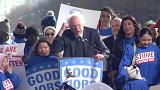Bernie Sanders piles pressure on Trump over jobs at Washington rally of blue-collar workers