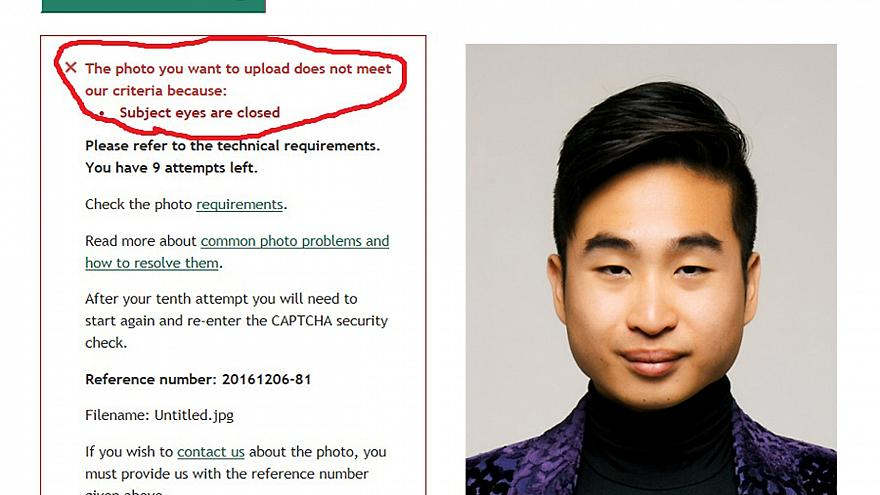 """New Zealander's passport photo rejected for """"small eyes"""""""