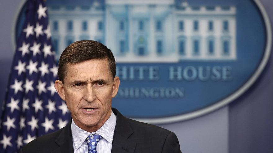 Image: National Security Adviser Michael Flynn answers questions in the bri