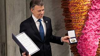 """Colombian Nobel Prize winner says a """"ray of hope"""" for Syria, Sudan"""
