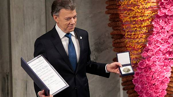 Juan Manuel Santos reçoit le prix Nobel de la paix