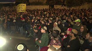 Manifestation contre le démantèlement d'une colonie juive en Cisjordanie