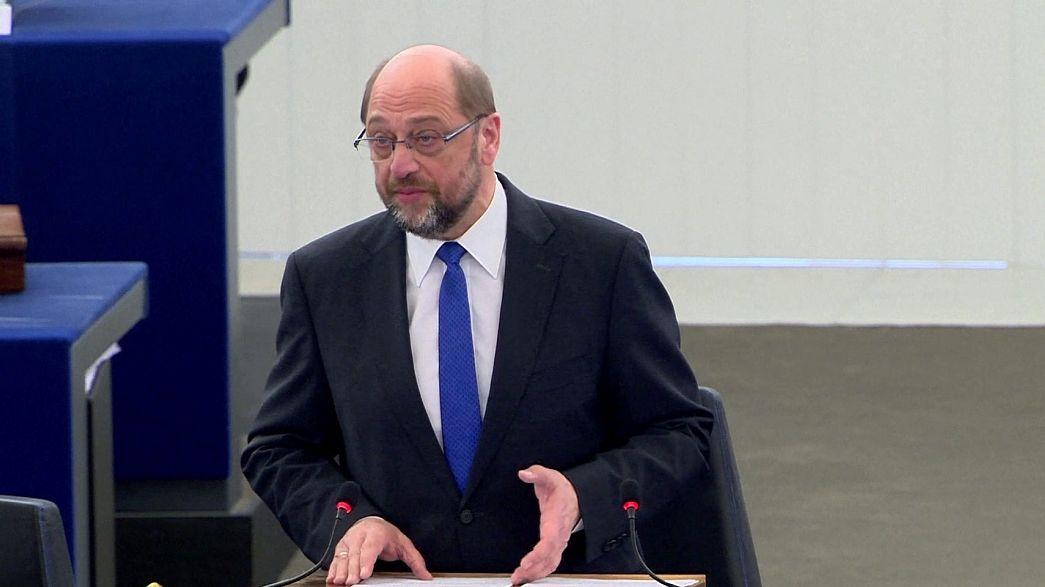 مارتن شولتز يلقي خطابه الأخير أمام البرلمان الأوروبي في ستراسبورغ