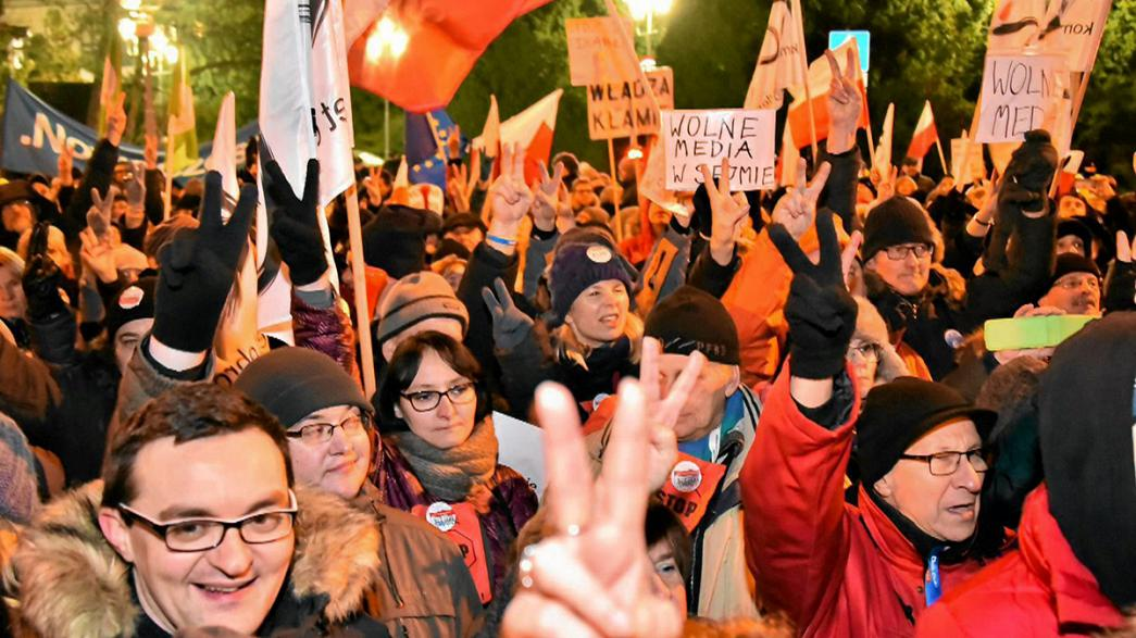 Protest broken up outside Poland's parliament