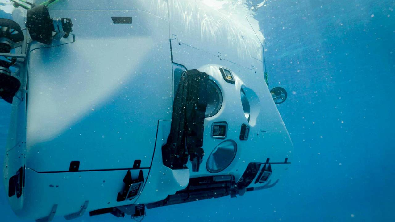Image: The submersible for the Five Deeps Expedition during its testing.