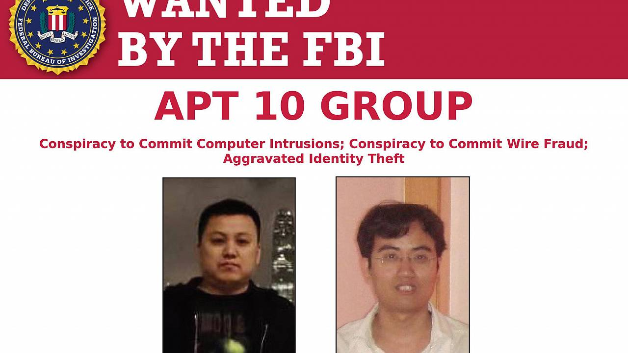 Image: Two Chinese nationals charged with hacking wanted by the FBI