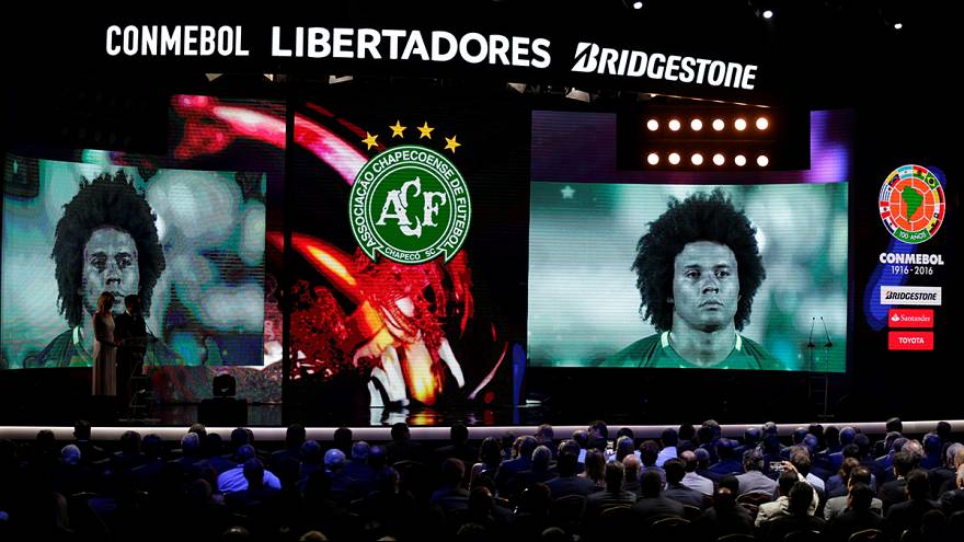 Stricken Chapecoense football club presented with the Copa Sudamericana trophy