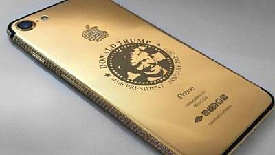 iPhone 7 encased in gold, with Trump's face sold for $151,000 in Dubai