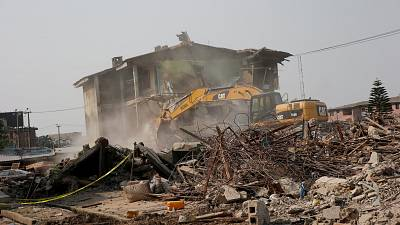 Two die as police building collapses in Nigeria's megacity Lagos