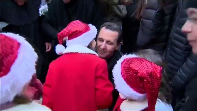 Siria: il presidente Bashar al-Assad e la famiglia visitano un orfanotrofio a Damasco