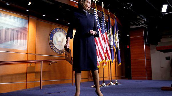 Image: House Minority Leader Nancy Pelosi speaks during a briefing on Capit