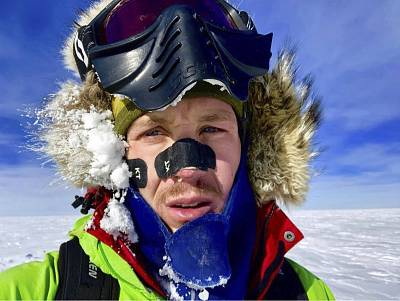 This Dec. 9, 2018, selfie provided by Colin O\'Brady, of Portland., Ore., shows himself in Antarctica.