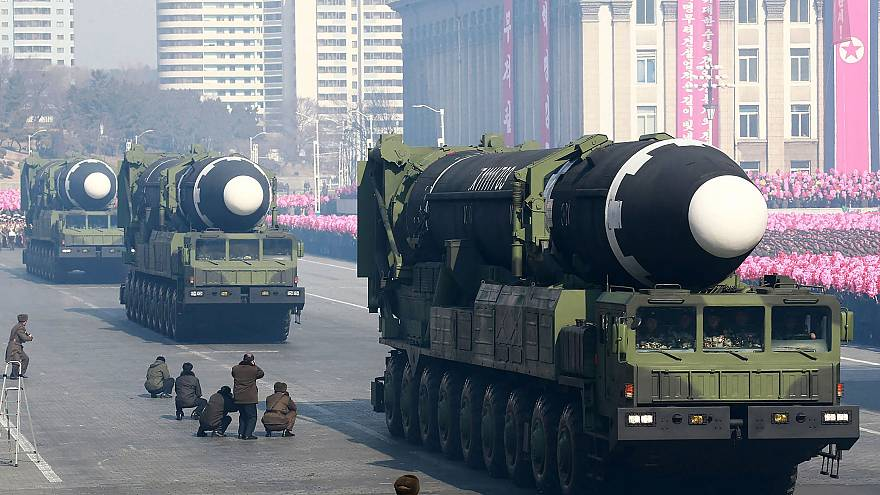 Image: Hwasong-15 ballistic missiles during a military parade