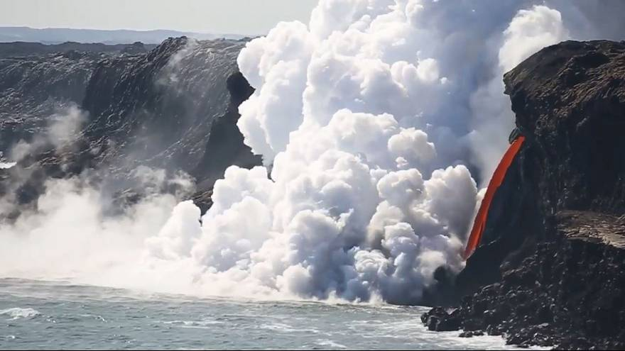 Watch: Lava 'firehose' pours into the Pacific Ocean