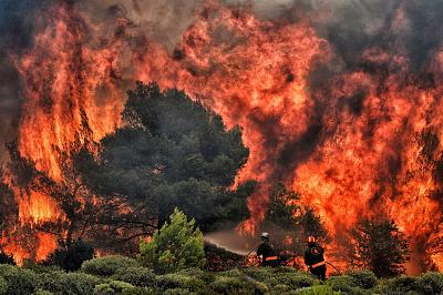 Firefighters try to extinguish flames in the village of Kineta, Greece, on July 24.