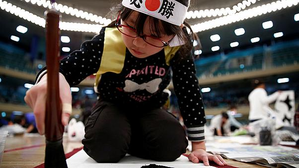 Thousands brush up on their calligraphy in Tokyo to start the new year