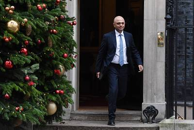 Britain\'s Home Secretary Sajid Javid leaves after a meeting at the prime minister\'s residence in London, Britain.