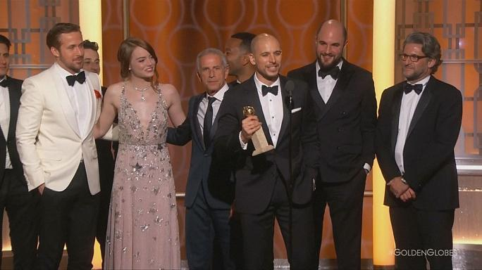 'La La Land' sweeps the boards at The Golden Globe Awards while 'Moonlight' surprises