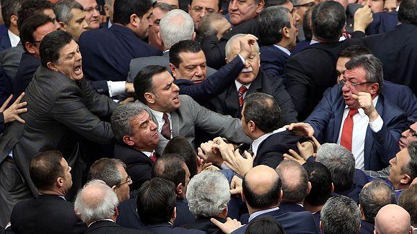 Scuffles erupt in Turkish parliament over constitutional amendment vote