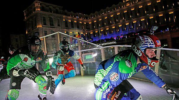 Coole Titelverteidiger bei Crashed Ice in Marseille