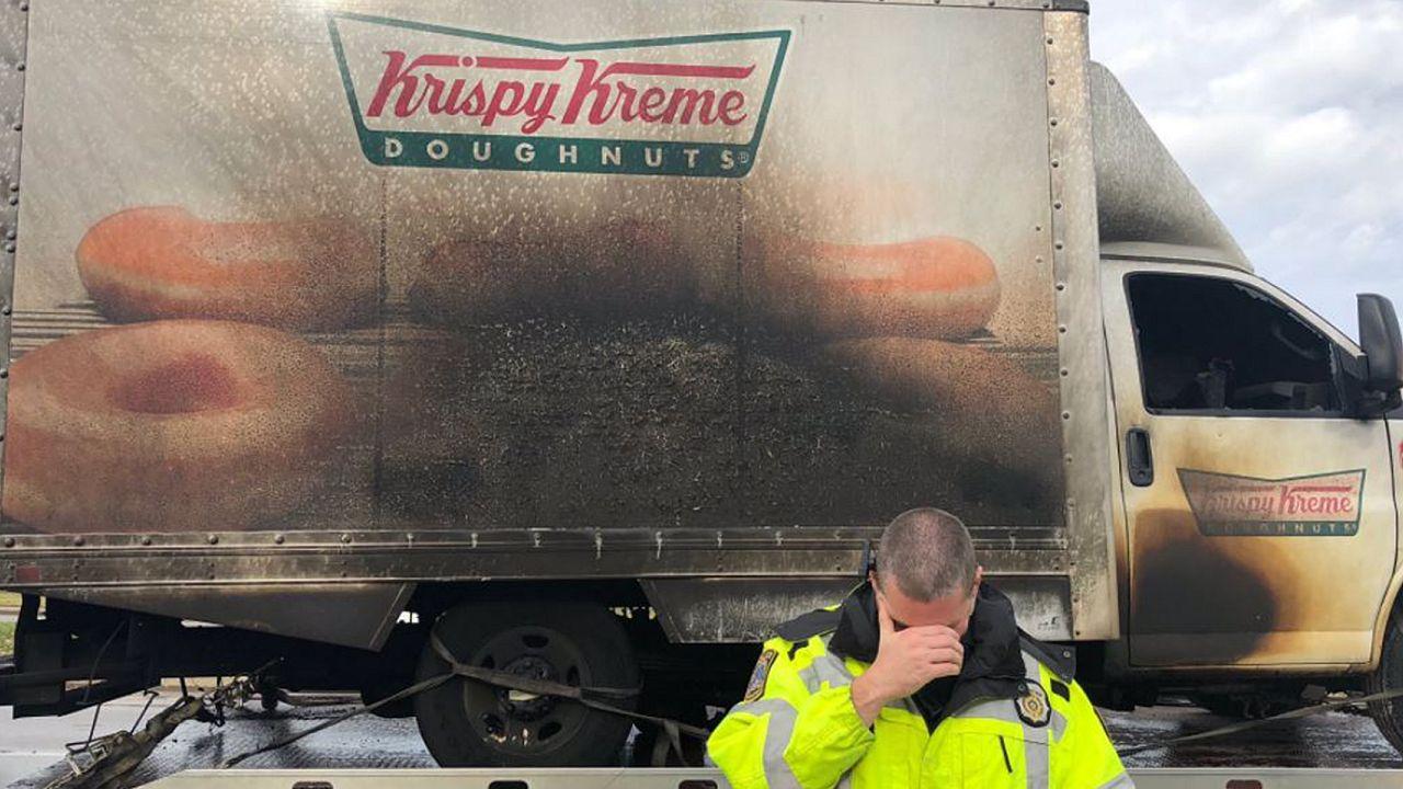 Cops feign sorrow over fate of burned Krispy Kreme truck