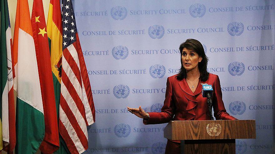 Image: U.S. Ambassador To The United Nations Nikki Haley  Briefs The Media