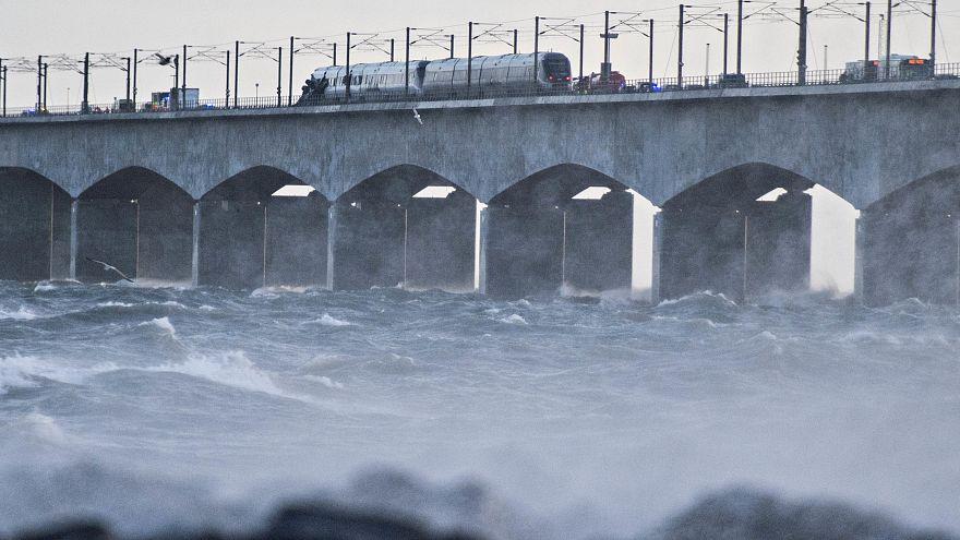 Image: A train on the Storebaelt bridge near Nyborg, Denmark