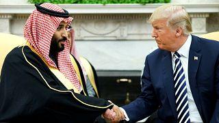Image: President Donald Trump shakes hands with Saudi Arabia's Crown Prince