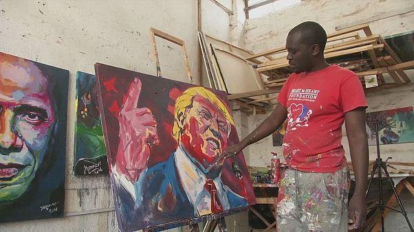 I mille volti di Donald Trump nei dipinti di Evans Yegon