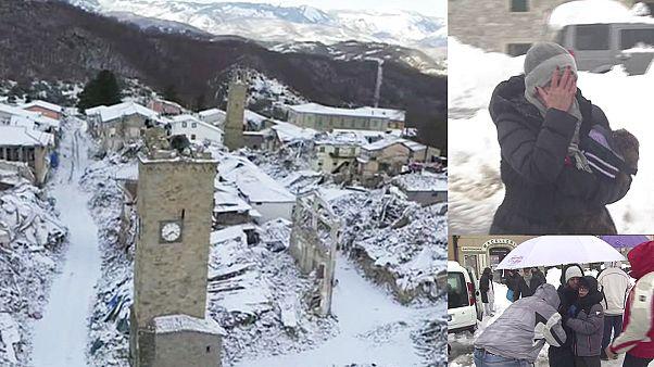 مشکل انتقال ساکنان مناطق زلزله زده ایتالیا به دلیل سرما و بارش برف