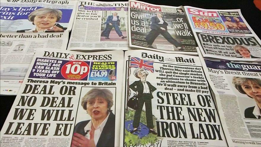ردود فعل أوروبية رسمية على خطاب رئيسة وزراء بريطانيا حول الخروج من الاتحاد الأوروبي.