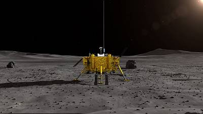 A handout photo made available by the Lunar Exploration and Space Engineering Center of China National Space Administration on Wednesday shows an artist impression of the moon lander for China\'s Chang\'e-4 lunar probe.