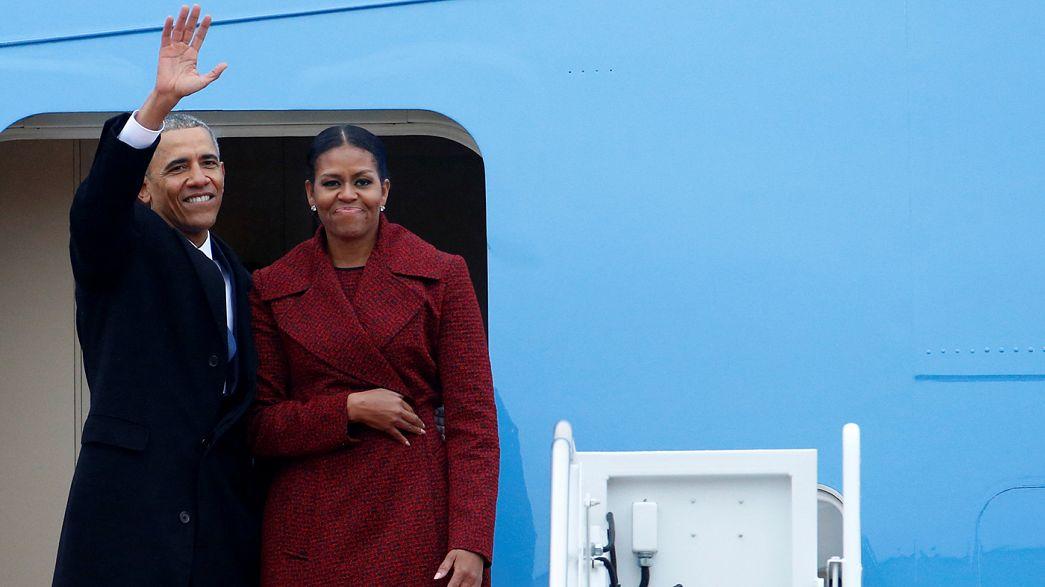 Obama flies out of DC as Biden takes train